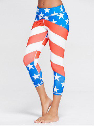 American Flag Patriotic Print Workout Leggings - Blue - Xl