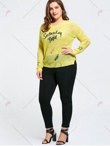 Hot Plus Size Graphic Ripped Sheer Crochet Sweater - ONE SIZE YELLOW Mobile