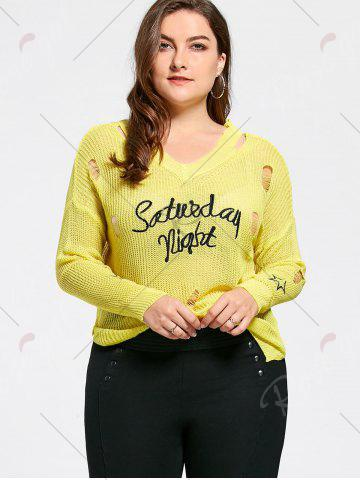Discount Plus Size Graphic Ripped Sheer Crochet Sweater - ONE SIZE YELLOW Mobile