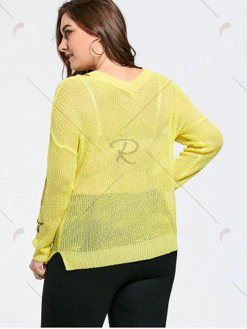 Outfits Plus Size Graphic Ripped Sheer Crochet Sweater - ONE SIZE YELLOW Mobile