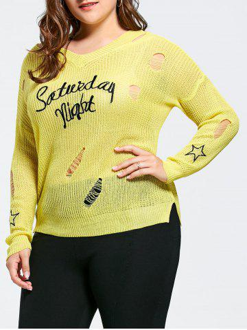 Outfit Plus Size Graphic Ripped Sheer Crochet Sweater - ONE SIZE YELLOW Mobile