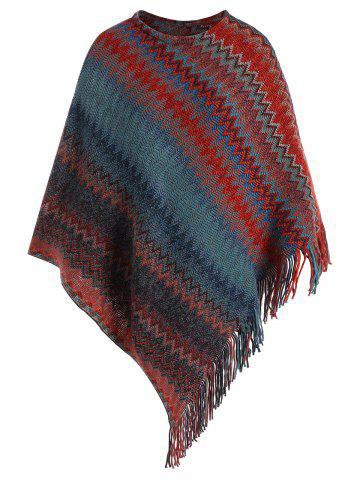 Discount Fringed Zigzag Plus Size Poncho Sweater COLORMIX ONE SIZE
