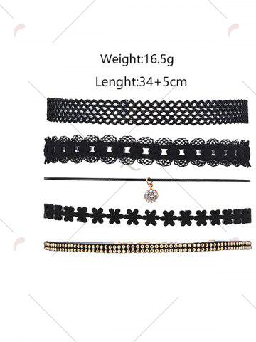 Outfit 5 Pieces Layered Punk Choker Necklace - BLACK  Mobile