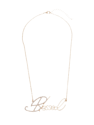 Trendy Hollow Rhinestone Nameplate Necklace - GOLDEN  Mobile