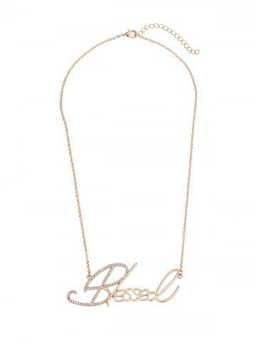 Outfit Hollow Rhinestone Nameplate Necklace - GOLDEN  Mobile