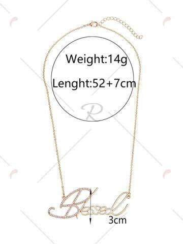 Shops Hollow Rhinestone Nameplate Necklace - GOLDEN  Mobile