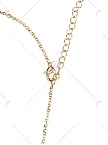 Best Hollow Rhinestone Nameplate Necklace - GOLDEN  Mobile