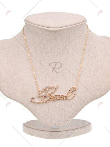 Chic Hollow Rhinestone Nameplate Necklace - GOLDEN  Mobile