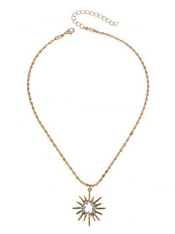 Buy Barbed Hollow Sun Embellished Pendant Necklace GOLDEN