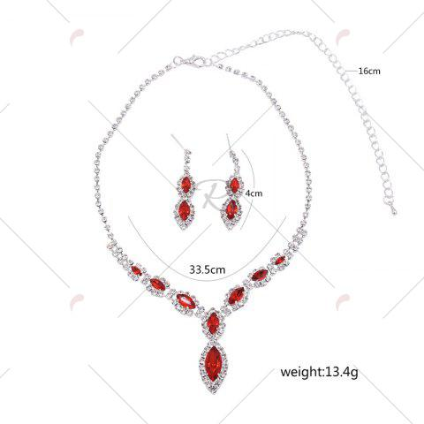 Trendy Rhinestone Infinity Necklace and Earrings - RED  Mobile