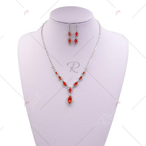Fancy Rhinestone Infinity Necklace and Earrings - RED  Mobile
