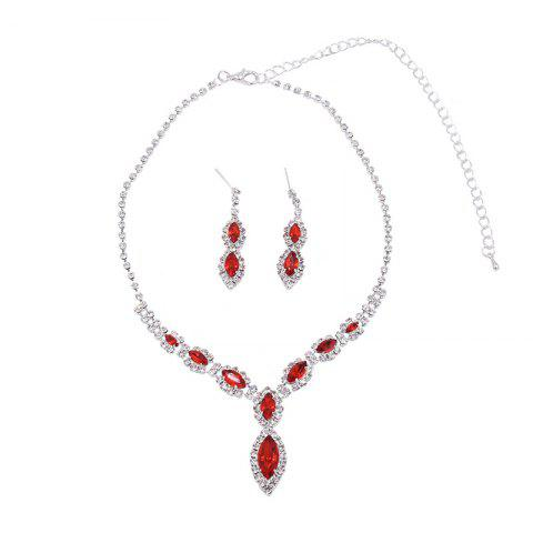 Affordable Rhinestone Infinity Necklace and Earrings RED