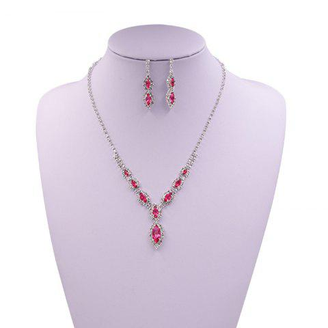 Trendy Rhinestone Infinity Necklace and Earrings PINK