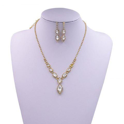 Buy Rhinestone Infinity Necklace and Earrings - GOLDEN  Mobile