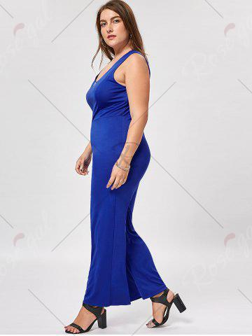 Outfits Plus Size Sleeveless Palazzo Jumpsuit - 3XL BLUE Mobile