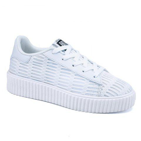 Mesh Breathable Athletic Shoes - White - 38