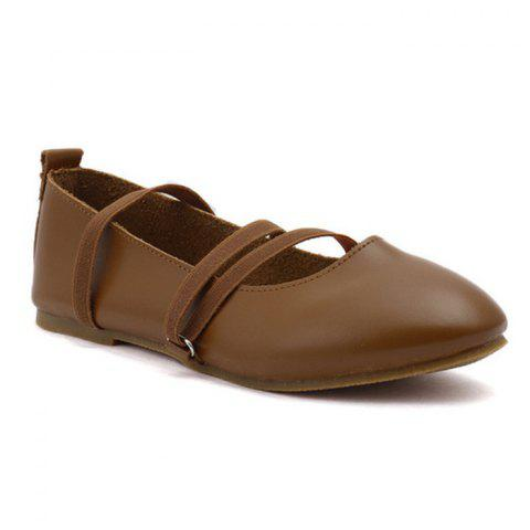 Round Toe Elastic Band Flat Shoes - Brown - 38