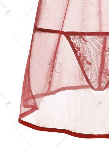 New Low Cut Sheer Backless Babydoll - XL WINE RED Mobile