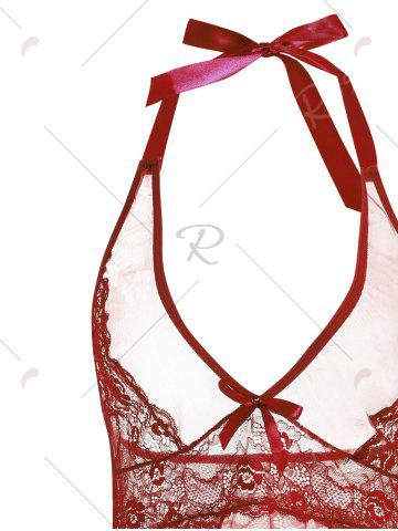Outfits Low Cut Sheer Backless Babydoll - XL WINE RED Mobile
