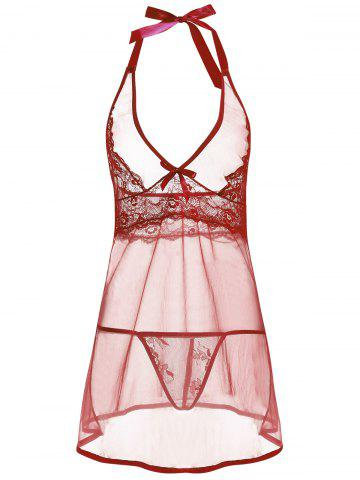 Chic Low Cut Sheer Backless Babydoll - XL WINE RED Mobile