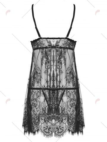Outfit Lace Split Sheer Slip Babydoll - 2XL BLACK Mobile