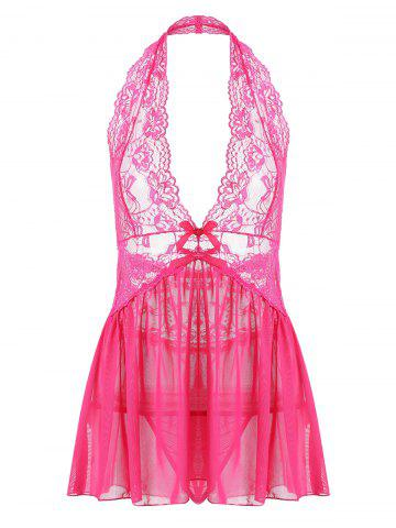 Shop Lace Halter Backless Sheer Babydoll - S WATER RED Mobile