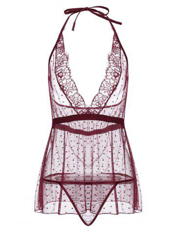 Sheep Plunge Mesh Halter Babydoll Rouge vineux  L