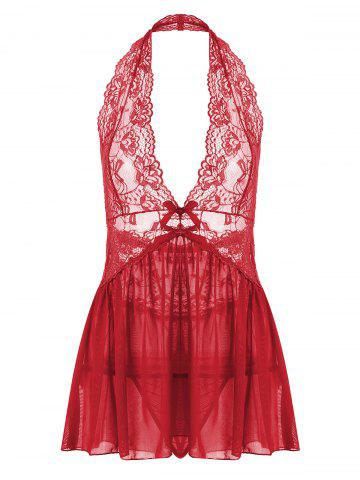 Fashion Lace Halter Backless Sheer Babydoll - 2XL RED Mobile