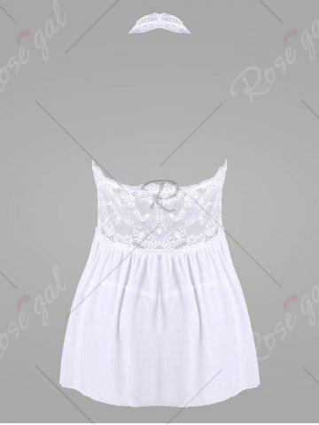 Outfit Lace Halter Backless Sheer Babydoll - 2XL WHITE Mobile