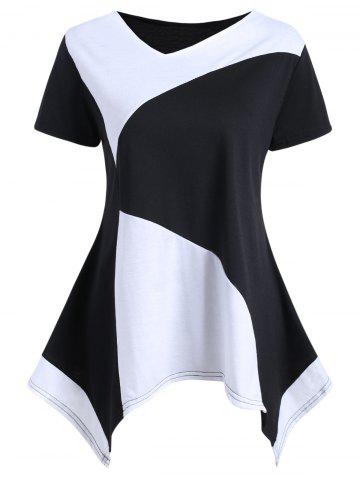Outfit Asymmetrical Color Block Tunic Tee - S BLACK Mobile