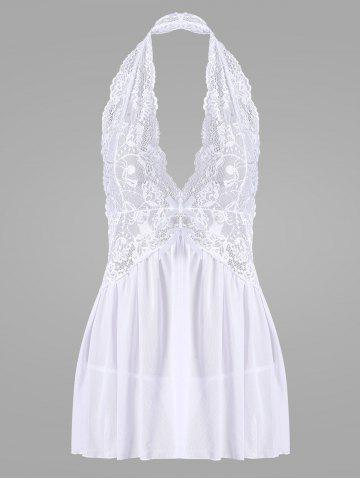 Lace Halter Backless Sheer Babydoll Blanc M