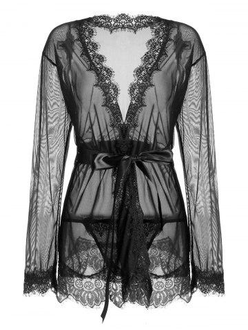 Sheer Wrap Lace Trim Kimono Dress Noir S