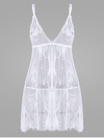 Hot Lace Split Sheer Slip Babydoll - S WHITE Mobile