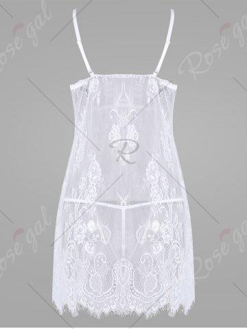 Online Lace Split Sheer Slip Babydoll - S WHITE Mobile