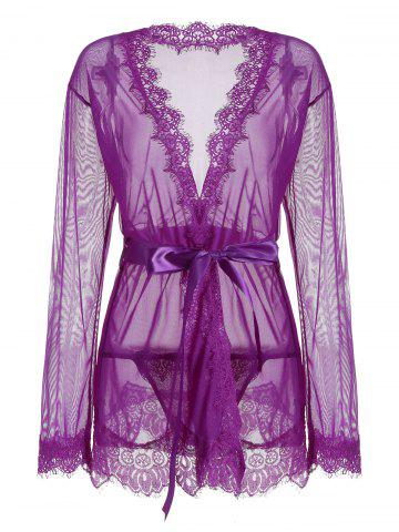 Sheer Wrap Lace Trim Kimono Dress Pourpre L
