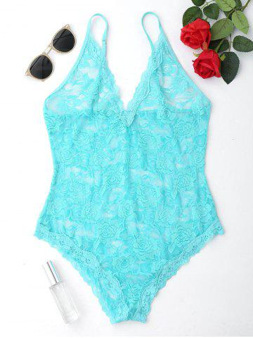 Cami Strap Lace Sheer Teddy - Turquoise - 2xl