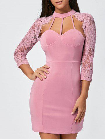Affordable Lace Insert Cut Out Bodycon Dress - XL PINK Mobile