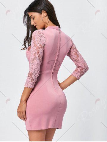 Sale Lace Insert Cut Out Bodycon Dress - XL PINK Mobile