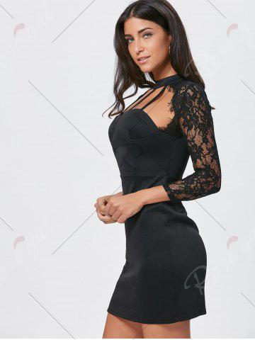 Trendy Lace Insert Cut Out Bodycon Dress - XL BLACK Mobile