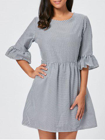 Fancy Ruffle Sleeve Striped Seersucker Dress - L BLACK Mobile