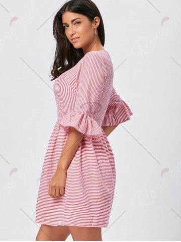 Latest Ruffle Sleeve Striped Seersucker Dress - S RED Mobile