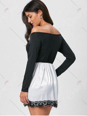 Cheap Off The Shoulder Mini Fit and Flare Dress - M BLACK Mobile