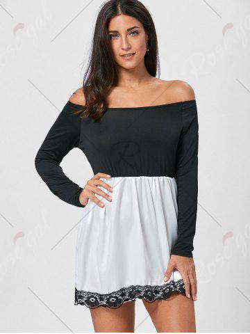 Fancy Off The Shoulder Mini Fit and Flare Dress - M BLACK Mobile