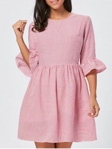 Cheap Ruffle Sleeve Striped Seersucker Dress - S RED Mobile