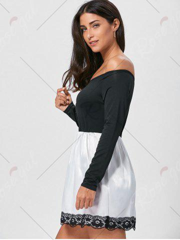 Best Off The Shoulder Mini Fit and Flare Dress - M BLACK Mobile