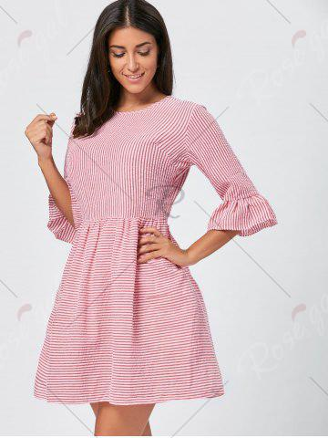 Chic Ruffle Sleeve Striped Seersucker Dress - S RED Mobile