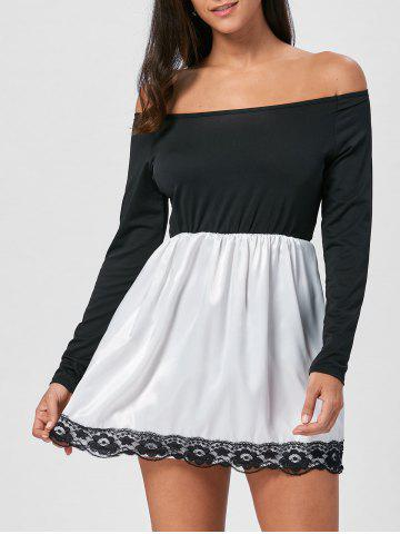 Discount Off The Shoulder Mini Fit and Flare Dress - M BLACK Mobile