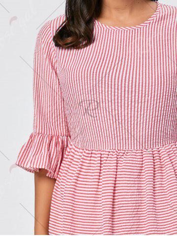 Fashion Ruffle Sleeve Striped Seersucker Dress - L RED Mobile