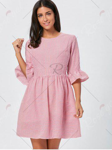 Online Ruffle Sleeve Striped Seersucker Dress - L RED Mobile