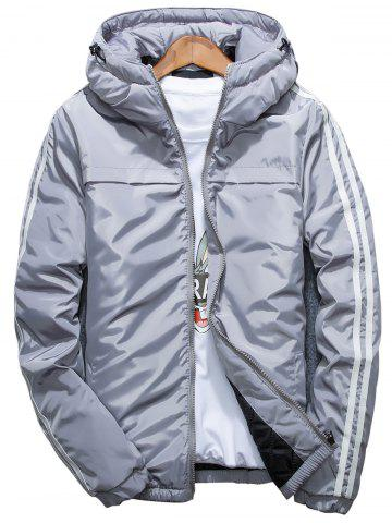 Fancy Stripe Zip Up Down Jacket GRAY 3XL